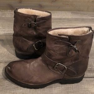 Frye Tyler Engineer leather shearling snow Boots